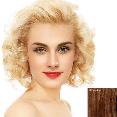 Short Free Part Fluffy Curly Lace Front Human Hair Wig - AUBURN BROWN 30