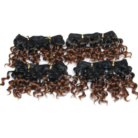4Pcs Fluffy Short Water Wave Synthetic Hair Wefts - AUBURN BROWN 30