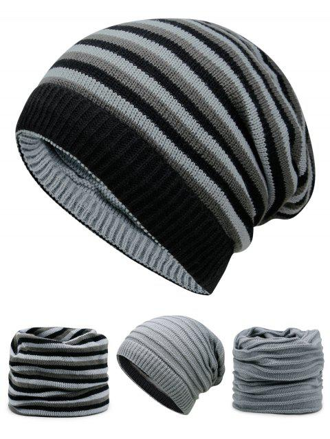 Open Top Decorated Reversible Crochet Knitted Beanie - LIGHT GRAY