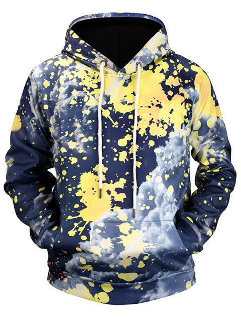 Paint Splatter Cloud Print Kangaroo Pocket Hoodie - COLORMIX 3XL