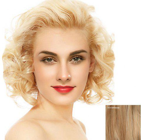 Short Free Part Fluffy Curly Lace Front Human Hair Wig - BLONDE