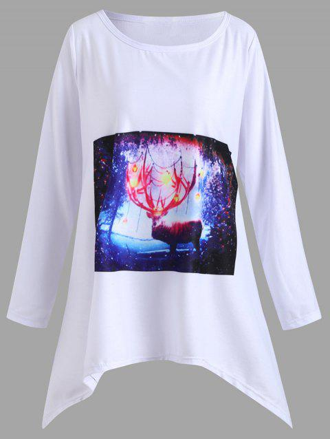 Christmas Plus Size Deer Graphic Handkerchief  T-shirt - WHITE 5XL