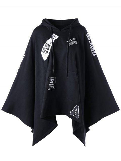 Hooded Asymmetrical Graphic Cape - BLACK XL
