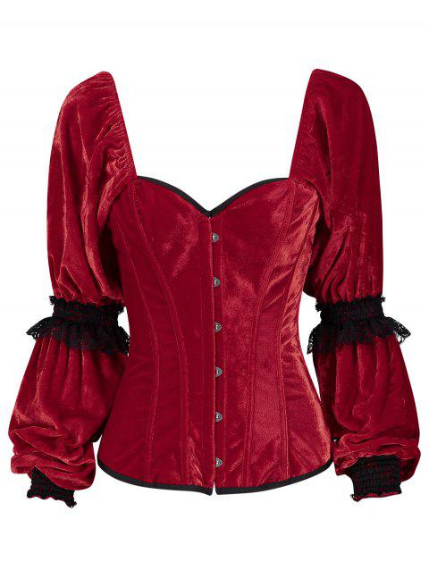 Velvet Christmas Lantern Sleeve Corset - RED XL