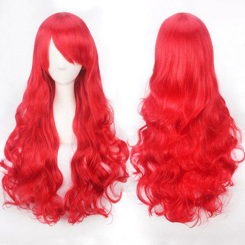 Ultra Long Inclined Bang Fluffy Curly Synthetic Party Wig - RED