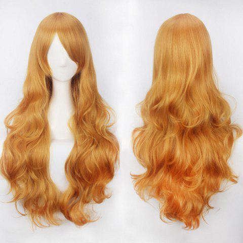 Ultra Long Inclined Bang Fluffy Curly Synthetic Party Wig - CITRUS
