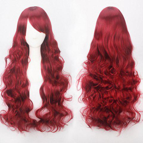 Ultra Long Inclined Bang Fluffy Curly Synthetic Party Wig - WINE RED