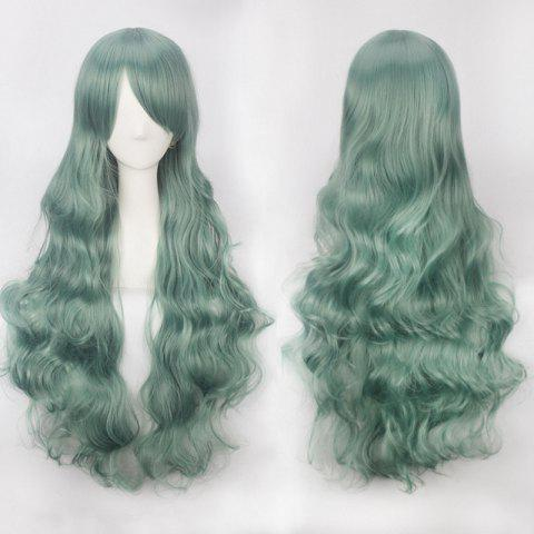 Ultra Long Inclined Bang Fluffy Curly Synthetic Party Wig - BLACKISH GREEN