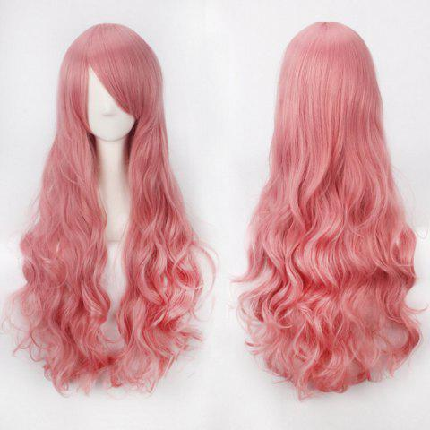 Ultra Long Inclined Bang Fluffy Curly Synthetic Party Wig - LIGHT PINK