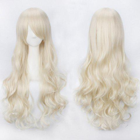 Ultra Long Inclined Bang Fluffy Curly Synthetic Party Wig - LIGHT GOLD