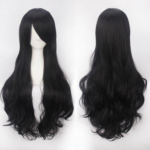 Ultra Long Inclined Bang Fluffy Curly Synthetic Party Wig - NATURAL BLACK
