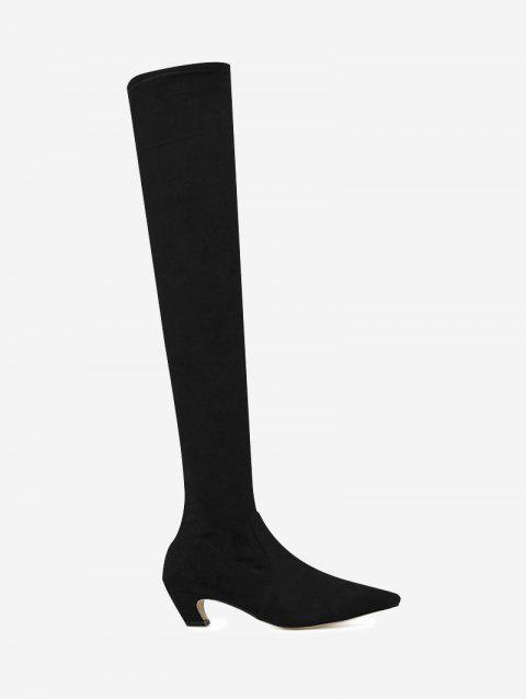 Back Zip Suede Stretch Over the Knee Boots - BLACK 37