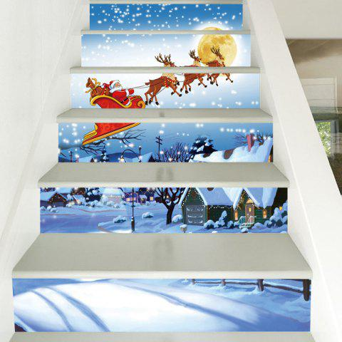 Christmas Snowy Night Santa Pattern Stair Stickers - COLORMIX 100*18CM*6PCS