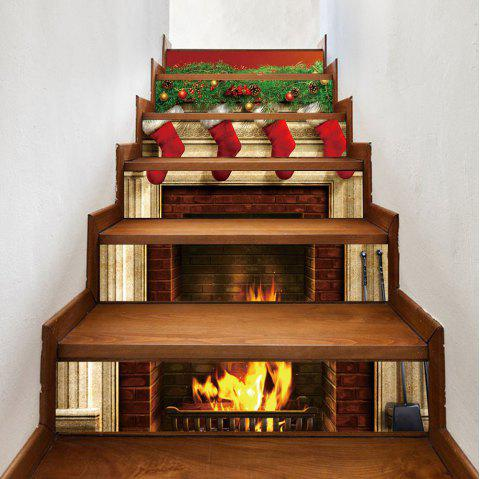 Christmas Fireplace Stockings Pattern Stair Stickers - COLORMIX 100*18CM*6PCS
