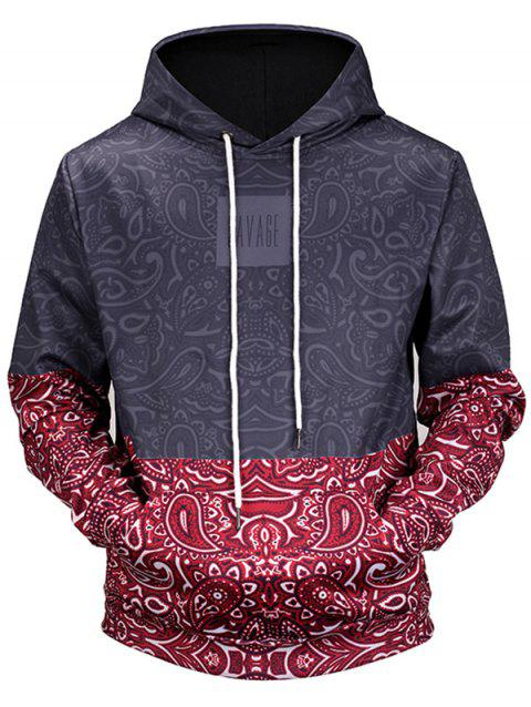 Paisley Pattern Kangaroo Pocket Pullover Hoodie - COLORMIX M