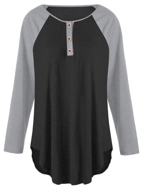 Plus Size Two Tone Raglan Sleeve T-shirt with Buttons - BLACK/GREY XL