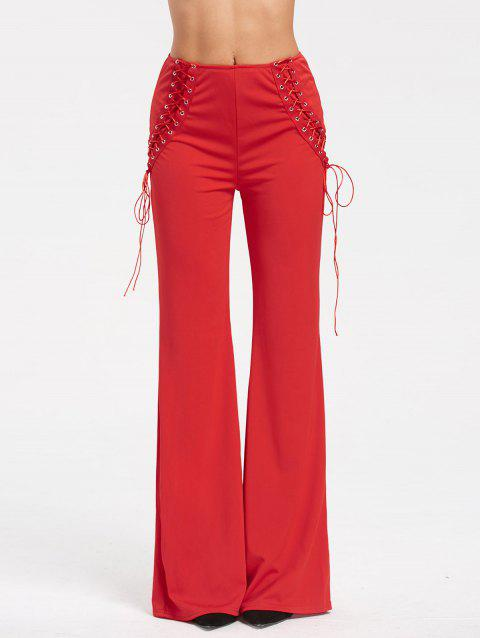 High Waist Criss Cross Lace Up Flare Pants - RED M