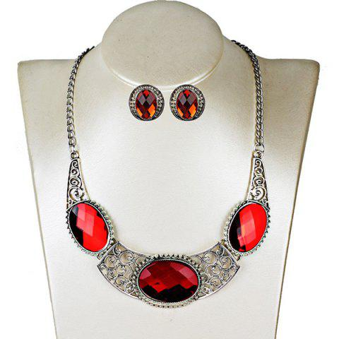 Faux Gemstone Oval Necklace and Earring Set - RED