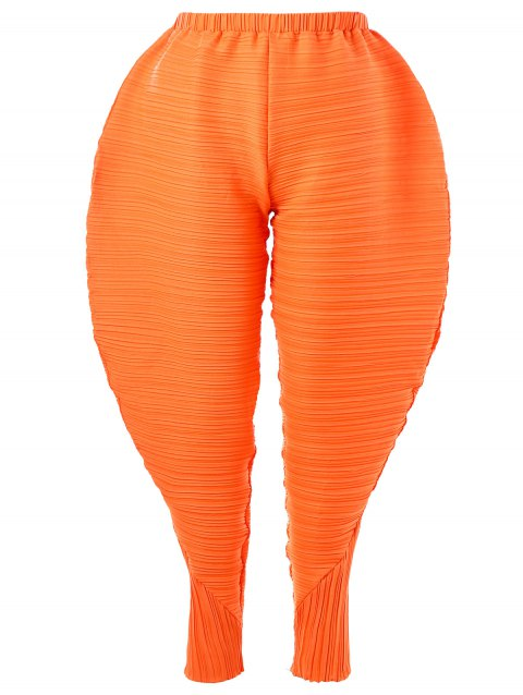 c01c132abb5 Thanksgiving Plus Size Pleated Chicken Drumsticks Pants - ORANGE 5XL