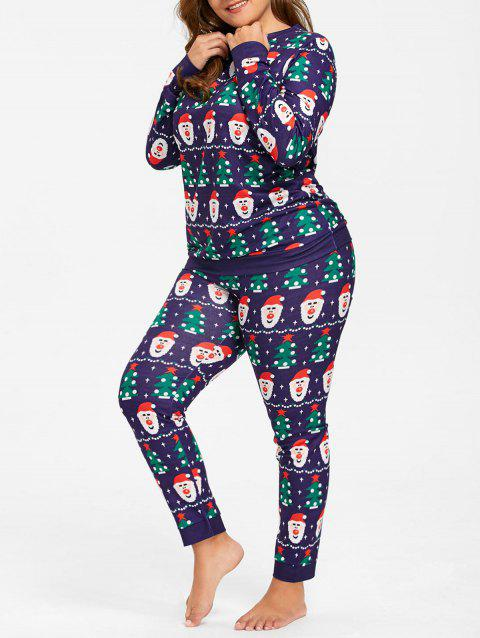 Plus Size Christmas Pajamas.Santa Claus Plus Size Christmas Pajamas Set