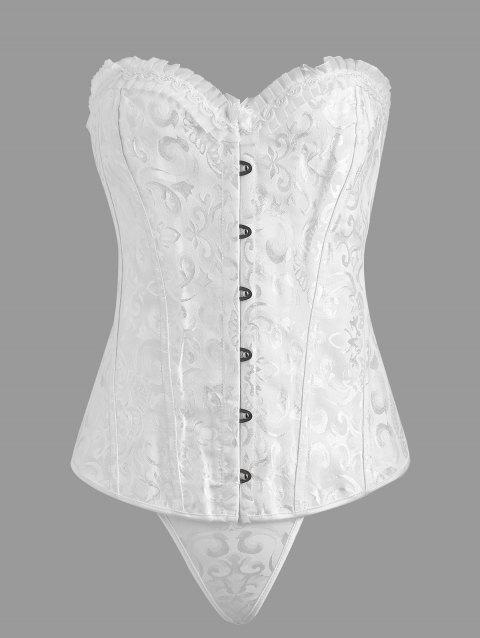 Plus Size Jacquard Ruffle Lace Up Corset - WHITE 3XL