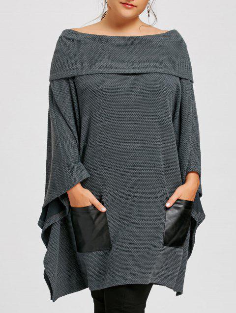 Plus Size Batwing Sleeve Off The Shoulder Top - GRAY 2XL