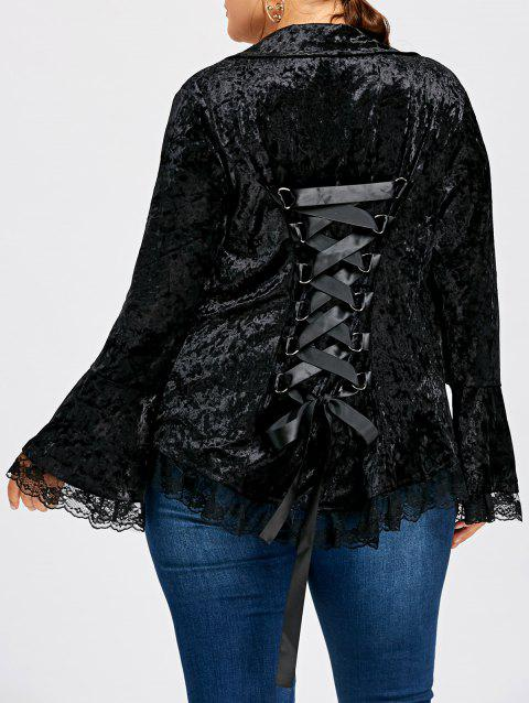 Plus Size Lace Up Flare Sleeve Velvet Coat - BLACK 3XL