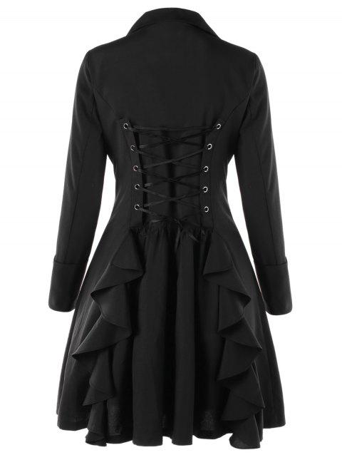 Double Breasted Lace Up Flare Trench Coat - BLACK M