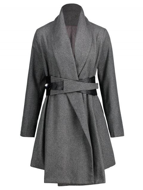 Turn Down Collar Tunic Belted Coat - GRAY M