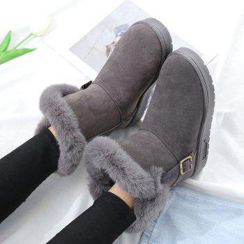 Slip On Buckled Faux Fur Suede Snow Boots - GRAY 38
