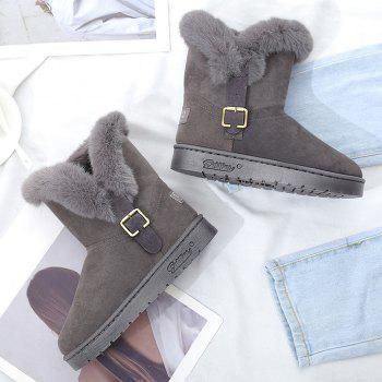 Slip On Buckled Faux Fur Suede Snow Boots - GRAY 39