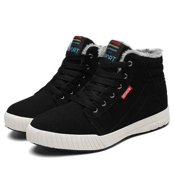 Letter Print High Top Warm Skate Shoes - BLACK 44