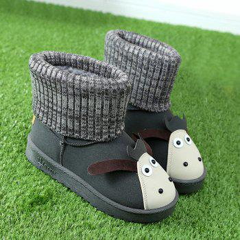Slip On Sweet Cartoon Knitted Ankle Boots - GRAY 37