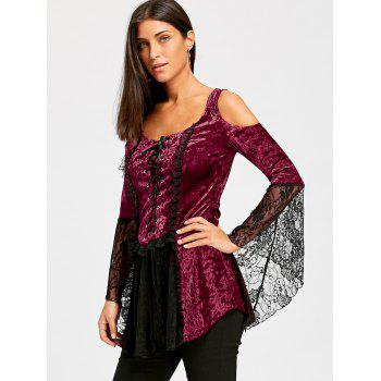 Lace Up Bell Sleeve Velvet Gothic Top - WINE RED M