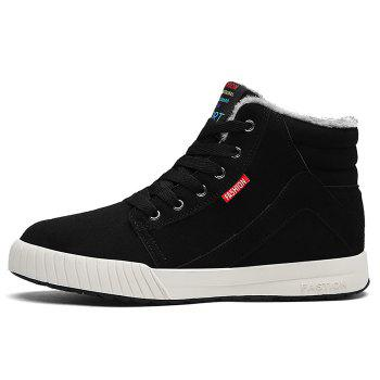 Letter Print High Top Warm Skate Shoes - BLACK 46