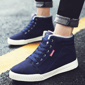 Letter Print High Top Warm Skate Shoes - DEEP BLUE 43