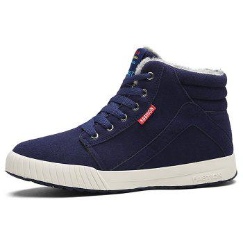 Letter Print High Top Warm Skate Shoes - DEEP BLUE 40