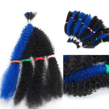 Long Fluffy Afro Curly Synthetic 5Pcs Hair Weaves - BLUE BLUE