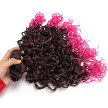 Medium Ombre Fluffy Wavy 6Pcs Synthetic Hair Weaves -  PINK