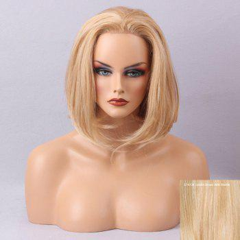 Free Part Straight Short Bob Lace Front Human Hair Wig - GOLDEN BROWN WITH BLONDE GOLDEN BROWN/BLONDE