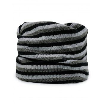 Open Top Decorated Reversible Crochet Knitted Beanie -  BLACK