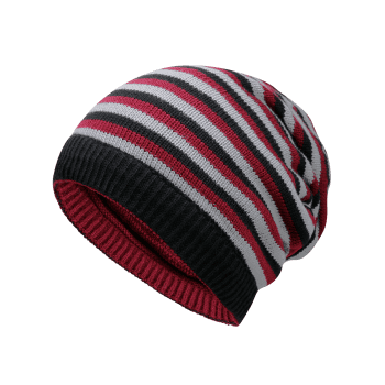 Open Top Decorated Reversible Crochet Knitted Beanie -  WINE RED