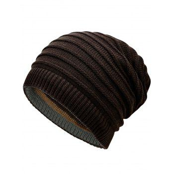 Open Top Decorated Reversible Crochet Knitted Beanie - COFFEE