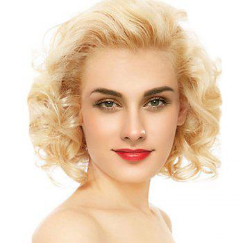 Short Free Part Fluffy Curly Lace Front Human Hair Wig - GOLDEN BROWN WITH BLONDE GOLDEN BROWN/BLONDE