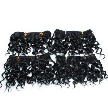 4Pcs Fluffy Short Water Wave Synthetic Hair Wefts - BLACK BLACK