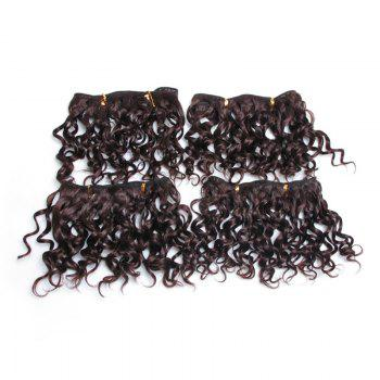 4Pcs Fluffy Short Water Wave Synthetic Hair Wefts - DEEP BROWN DEEP BROWN