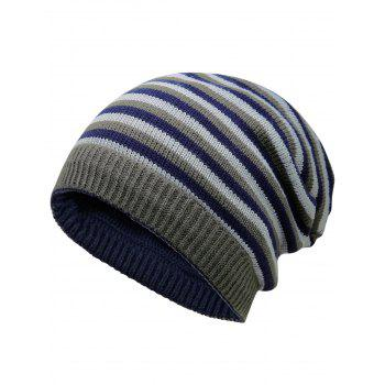 Open Top Decorated Reversible Crochet Knitted Beanie -  CERULEAN