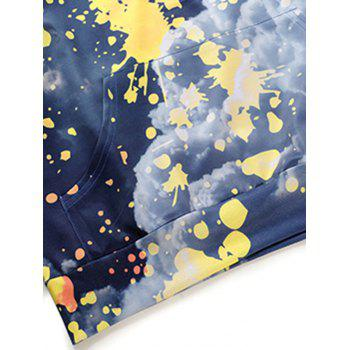 Paint Splatter Cloud Print Kangaroo Pocket Hoodie - COLORMIX 2XL