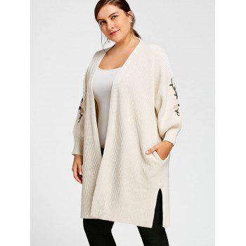 Plus Size Embroidered Long Sweater Coat with Pockets - OFF WHITE XL