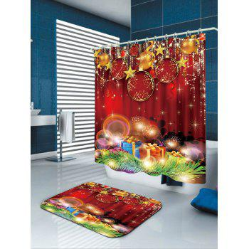 Red Baubles Printed Waterproof Shower Curtain - COLORFUL W71 INCH * L79 INCH